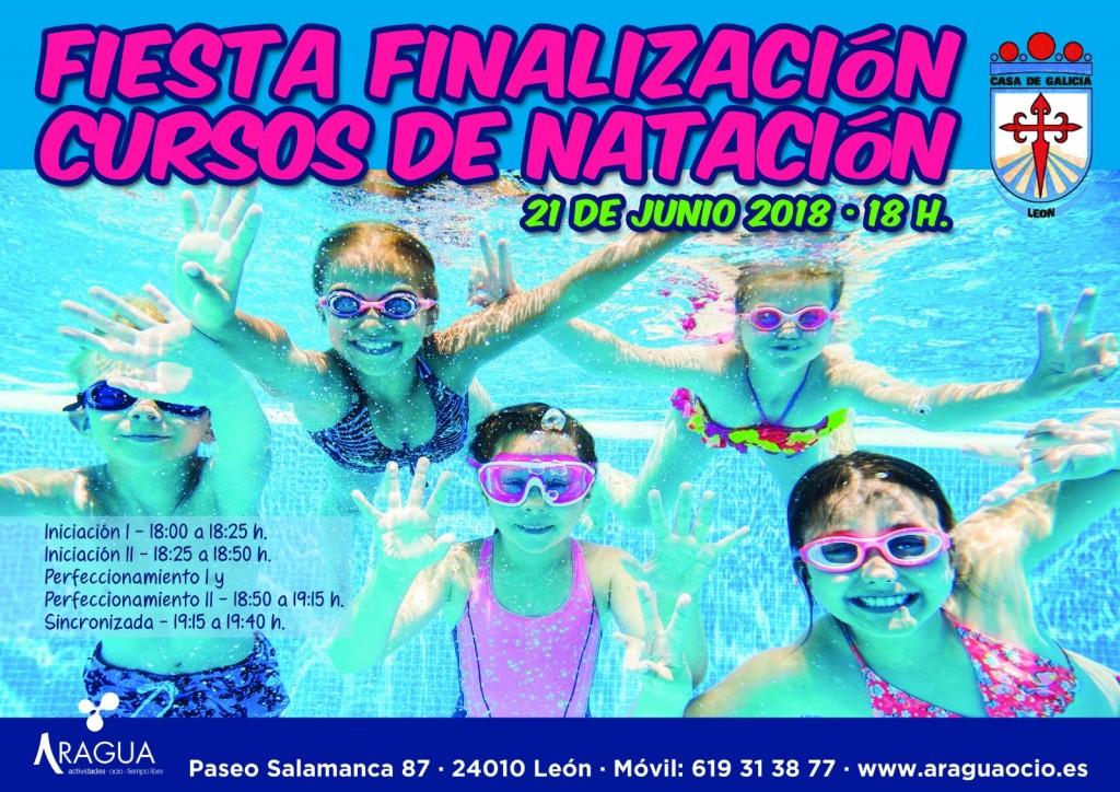Cartel Fiesta Fin Curso natación Casa Galicia